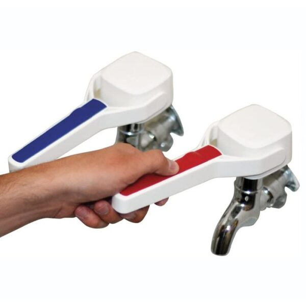 Easy Grip Tap Turners. Helps improve grip on taps. Suitable for use on most indoor taps. Easy to fit and adjust. Solid yet lightweight.